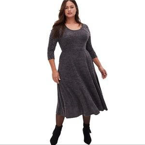 NEW Gray Skater Dress Below Knee Plus Size 18/20